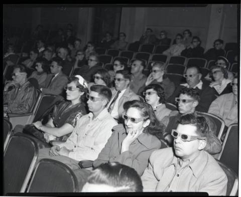 Watching movies in 3-D glasses, St. Cloud, Minnesota
