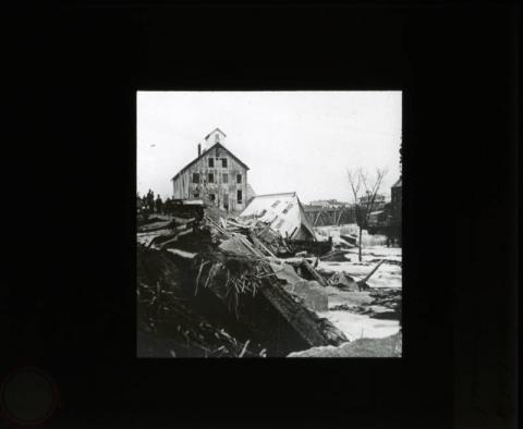 Aftermath of the collapse of Eastman's Tunnel at St. Anthony Falls, Minneapolis, Minnesota