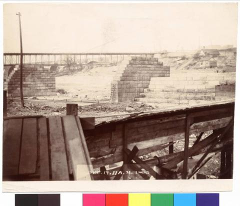Construction of the apron along the Mississippi River, Minneapolis, Minnesota