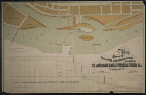 Map Showing The Mill Site And Water Power Belonging To The St. Anthony Falls Water Power Company