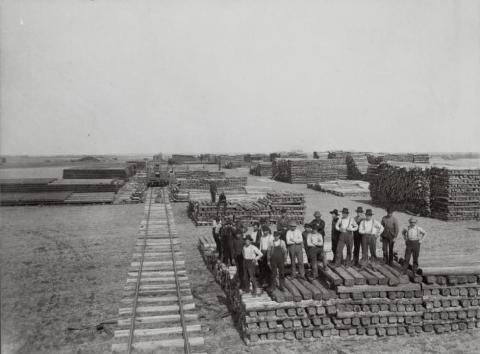 Work crew with Soo Line Railroad ties, Becker County, Minnesota