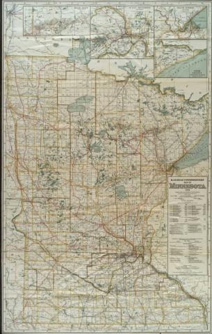 Railroad Commissioners' Map of Minnesota, 1919